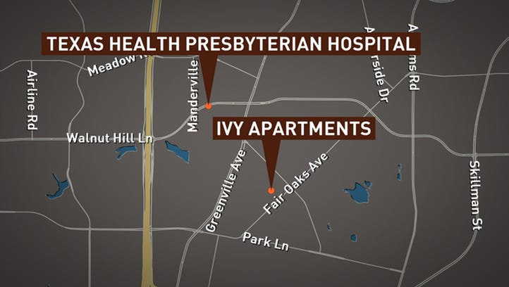 A man diagnosed with Ebola was transported to a hospital from a northeast Dallas apartment complex, Ivy Apartments.