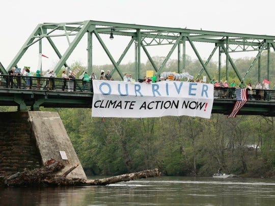 In an action of protest and solidarity with Climate Marchers around the world, nearly 100 residents of Bucks County in Pennsylvania and Hunterdon County marched to protest the Trump Administration's environmental policies and the proposed PennEast pipeline, which would cross the Delaware River, threatening the water, safety and rights of communities in both states.
