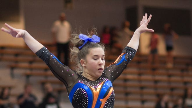 San Angelo Central's Mary Grace Thompson is tied for 16th place in the all-around competition after Friday's compulsory round of the 2018 Texas High School State Gymnastics Championships at Rockwall-Heath High School. The meet concludes with the optional round Saturday.