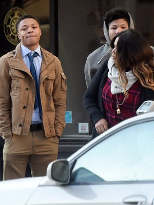 Daishon Richardson, 17, of Manchester Township, prepares to cross the street to enter the York County Judicial Center for his preliminary hearing on Feb. 8, 2018.