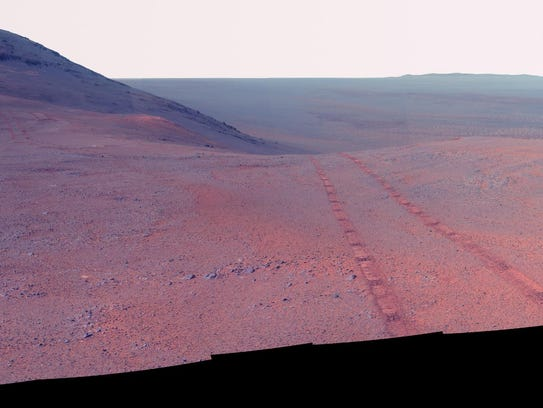 Opportunity's panoramic camera took these images during