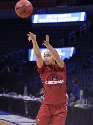 U of L's Mariya Moore (4) shoots a jumper during practice ahead of their Sweet 16 matchup against Baylor in Oklahoma City.