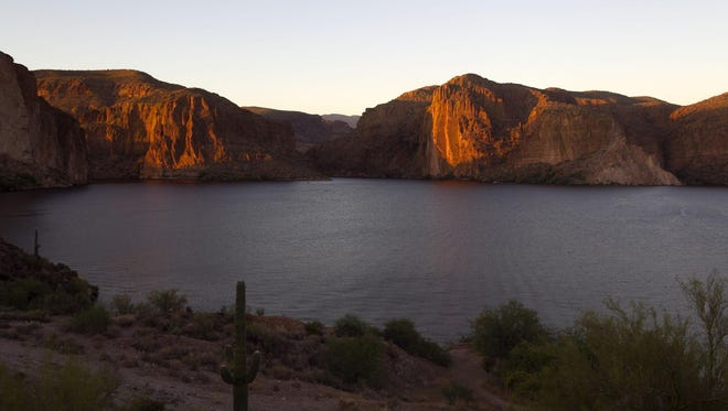 Canyon Lake at sunset in the Superstition Wilderness of the Tonto National Forest.
