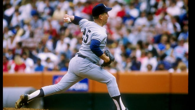 Pitcher Tommy John of the New York Yankees in action in 1989.