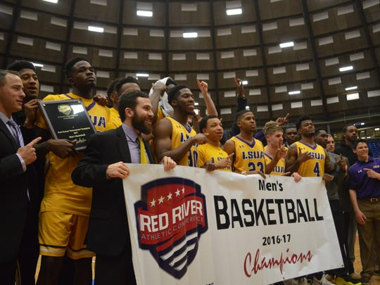 The LSU of Alexandria men's basketball team celebrates after winning the 2017 RRAC Men's Basketball Tournament at Rapides Coliseum. The men's and women's tournaments will return to Alexandria in March 2020.