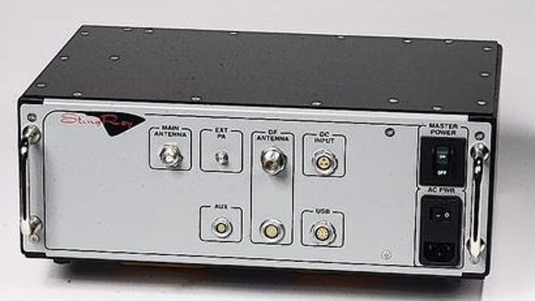 Photo of a StingRay device. It mimics a cellphone tower and relays cellphone usage information to law enforcement.