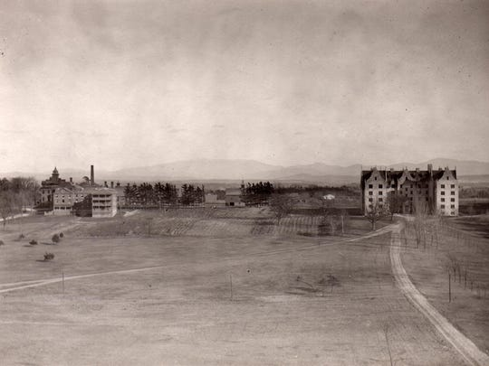 Historic view of Mary Fletcher Hospital and the area that is now the University of Vermont Medical Center.