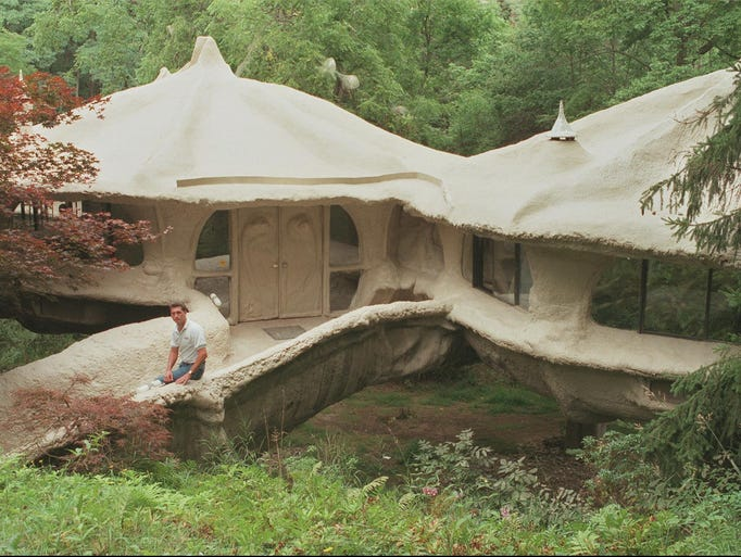 The entrance of the mushroom house located in Powder Mills Park.