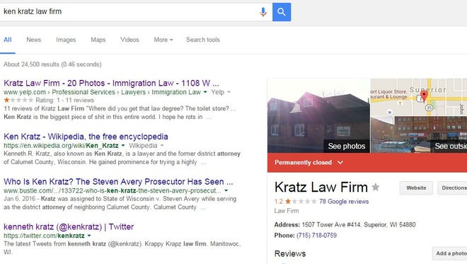"""Ken Kratz's law firm is listed as """"permanently closed"""" on Google. Not so, says Kratz."""