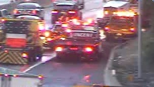 Emergency vehicles respond to an accident on Interstate 95 in New Rochelle Thursday.