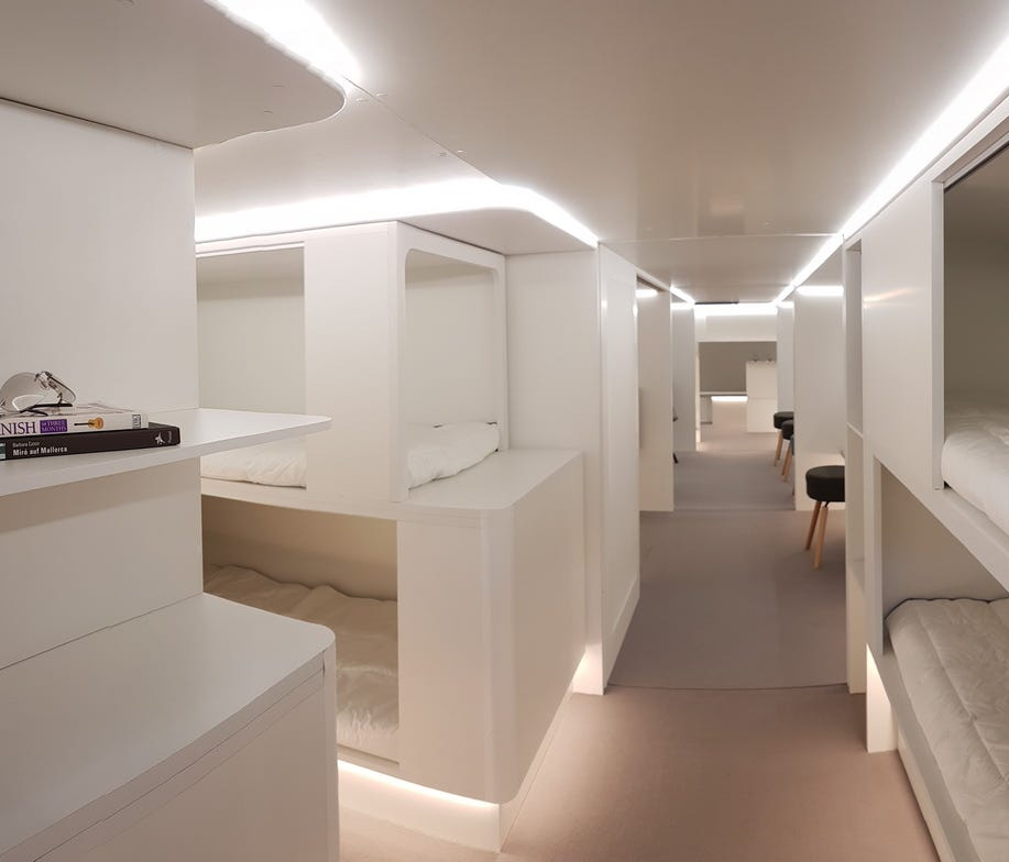 This image, provided by Airbus, shows what cargo hold sleeper berths might look like if added to some of its long-haul widebody jets.