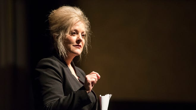 Former prosecutor and TV personality Nancy Grace speaks at the Port Huron Town Hall at McMorran Theater Feb. 12.