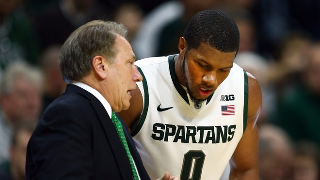 Michigan State Spartans head coach Tom Izzo talks to Michigan State Spartans forward Marvin Clark Jr. (0) during the 2nd half of  a game against the Citadel Bulldogs at Jack Breslin Student Events Center.