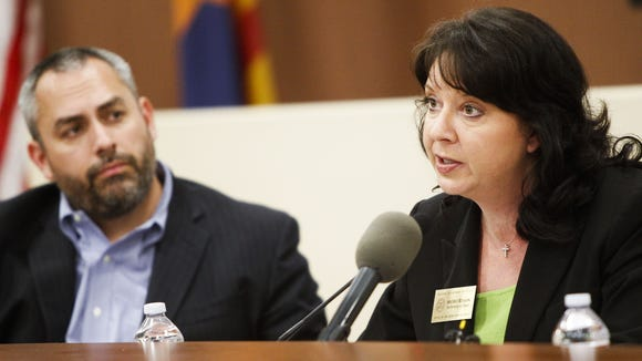 Arizona Secretary of State Michele Reagan speaks during a meeting hosted by her office focused on getting voter feedback from the long lines and lack of polling locations during the March 22 primary. The Monday, April 11, 2016, meeting was at the Cartwright School District in Phoenix.