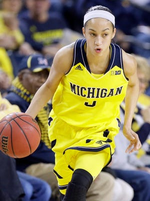 Michigan guard Shannon Smith dribbles during a game against Michigan State on Jan. 4, 2015.