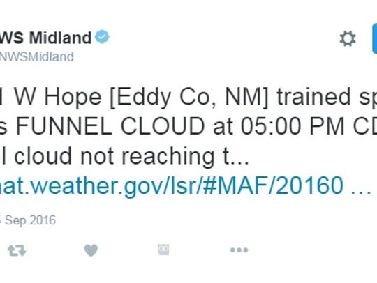 The National Weather Service's Midland/Odessa Twitter
