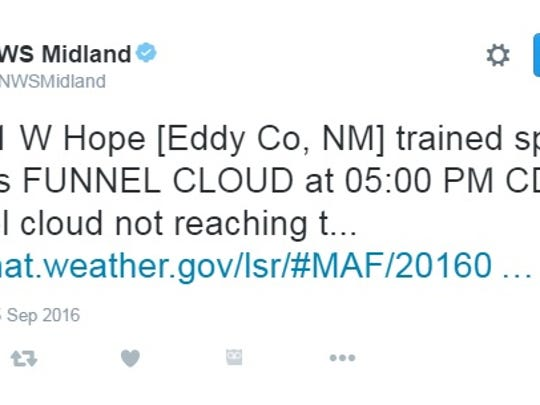 The National Weather Service's Midland/Odessa Twitter feed confirmed a funnel cloud around 4 p.m.