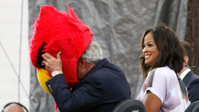 Laila Ali is all smiles as Lee Corso picks Louisville for the win during ESPN's Game Day. Sept. 17, 2016