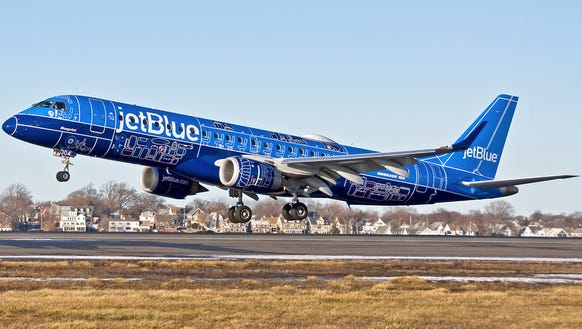 JetBlue provided this undated photo of an Embraer E190