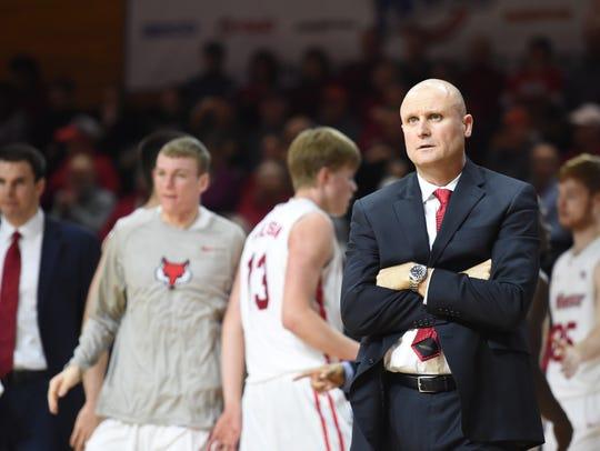 Marist College men's basketball coach Mike Maker looks
