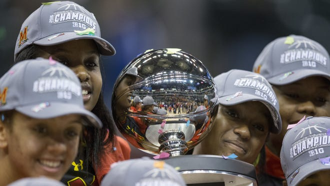 Maryland's title trophy after action against Michigan State, Big Ten Women's Basketball Final, Bankers Life Field House, Indianapolis, Sunday, March 6, 2016. Maryland pulled ahead in the second half 60-44.