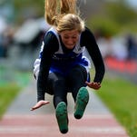 Fairfield's Lori Dauwalder competes in the long jump during Saturday's track meet at Memorial Stadium.