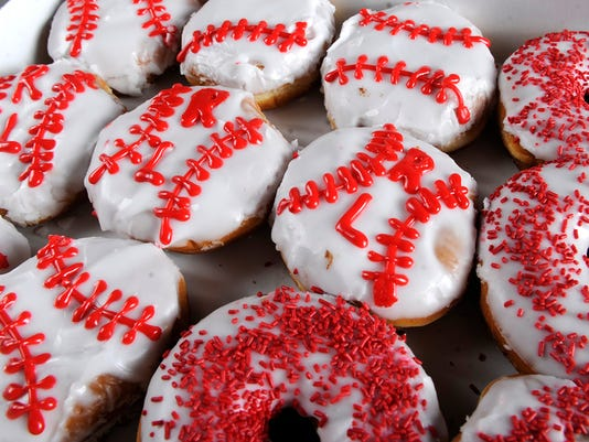 """Get one of these special doughnuts this weekend at Maple Donuts to celebrate the Red Land Little League team. """"We wanted to do something special for them,"""" said Luke Burnside, sales and marketing manager for the business."""
