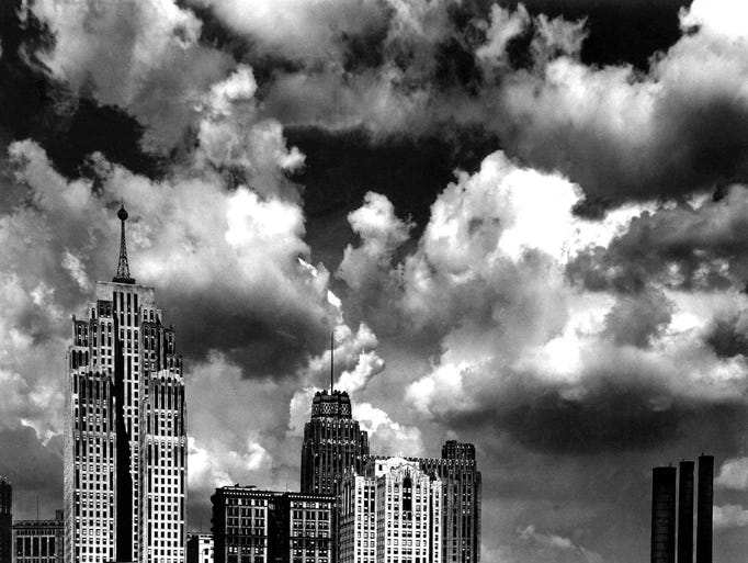 Clouds race over downtown Detroit skyscrapers in June 1932. The tallest building on the left is the 47-story Penobscot Building, built in 1928. Detroit is home to some of the finest Art Deco style skyscrapers in the country.