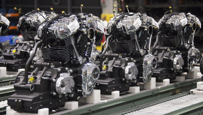 New engines come off the production line at Harley-Davidson's plant in Menomonee Falls.