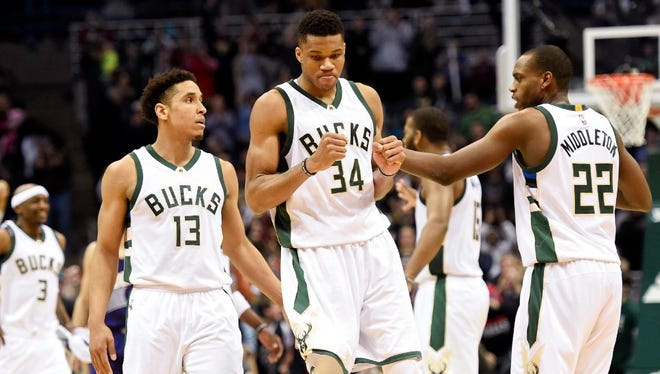 Bucks guard Malcolm Brogdon (left) is one of three finalists for the NBA's rookie of the year award while Giannis Antetokounmpo is a finalist for the league's most improved player.