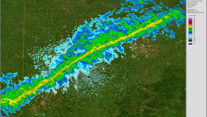 Rain associated with a cold front moved like a laser beam across Ohio late Sunday, as seen in this NEXRAD radar image from the National Weather Service Forecast Office in Wilmington, Ohio.
