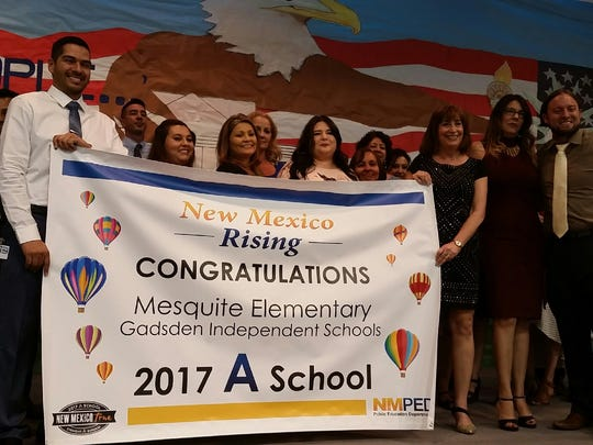 """New Mexico Public Education Secretary Christopher Ruszkowski, far right, visited Mesquite Elementary School on Thursday, Sept. 7, 2017, to recognize that school and Desert View Elementary in Sunland Park for earning """"A's"""" in the state's school report card system."""
