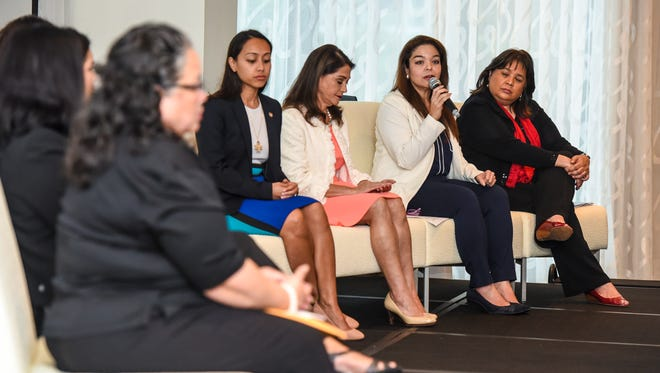 The Guam Women's Chamber of Commerce hosts a forum on leadership and public service featuring an all-female panel, comprised of key figures in all branches of the government, during a special meeting at the Outrigger Guam Beach Resort in Tumon on Wednesday, Oct. 18, 2017.