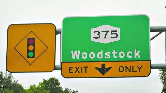 A street sign in the Town of Bethel reflects the town's lasting connection to the Woodstock Music and Art Fair of 1969.