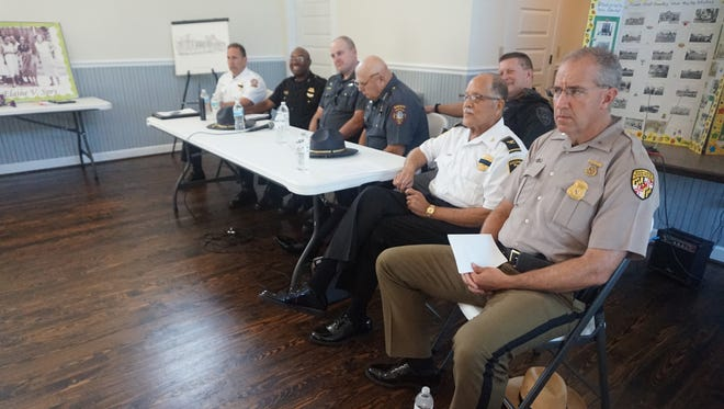 Police in attendance at a July 21 Worcester County NAACP meeting.