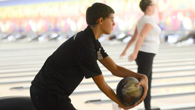 Chris Allan of Bayside bowls during Wednesday's bowling at Shore Lanes Palm Bay.