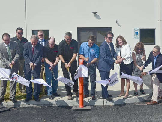 A ribboncutting is held on Tuesday, September 26, 2017 the the news Eldorado Stone plant at Antrim Commmons, Greencastle.