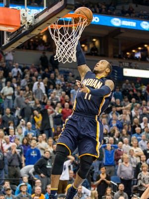 Indiana Pacers guard Monta Ellis (11) goes up for a layup in the second half against the Minnesota Timberwolves at Target Center. The Pacers won 102-88.