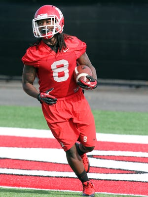 Rutgers Spring football practice opened today at the turf fields outside of the Hale Center in Piscataway on April 1,2015. Rutgers # 8- Josh Hicks