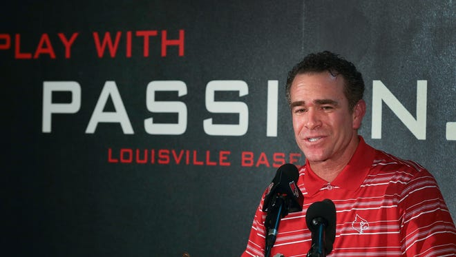 UofL Baseball Coach Dan McDonnell talks to the media during a press conference announcing his contract extension and increase in salary.June 1, 2016