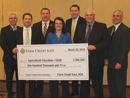(L-R): Blane Allen, Farm Credit East Middletown, New York. branch office manager; Michael Brooks, Farm Credit East director and owner of Dusty Lane Farms in Elmer, Scott Andersen, Farm Credit East Bridgeton,  branch office manager; Nancy Trivette, Agricultural Education/CASE New Jersey program leader; Mike Reynolds, Farm Credit East executive vice president; Dr. Dan Jansen, Curriculum for Agricultural Science Education (CASE) project director; and Stephen Makarevich, Farm Credit East Flemington, branch office manager.