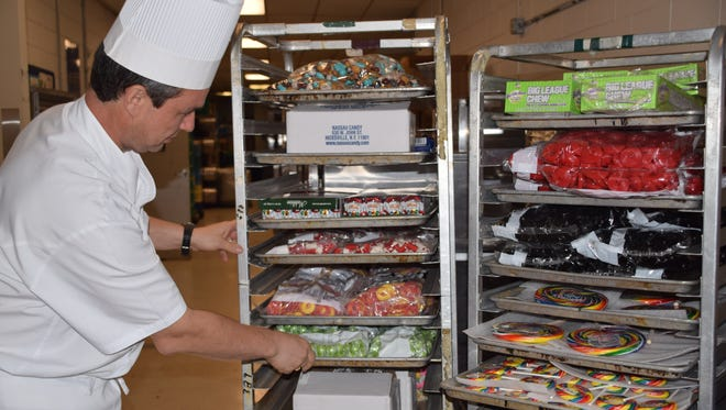 Executive Pastry Chef, Sebastien Thieffine, shows off the 100,000 pieces of candy that will be used to create the gingerbread house at the Ritz-Carlton in Naples.