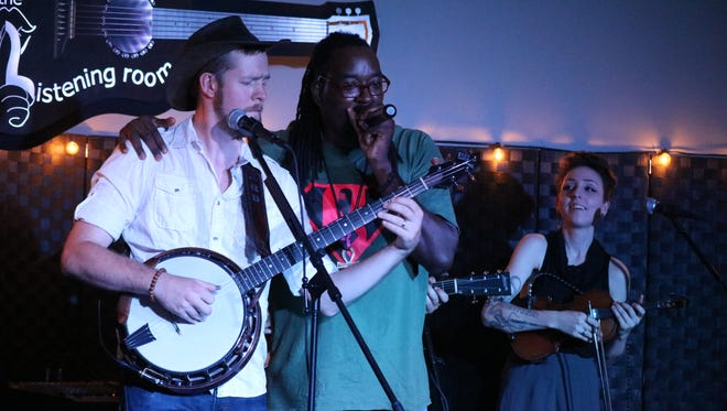 Gangstagrass — a blend of hip-hop and bluegrass — rocked out at the Listening Room in Port Clinton on Thursday.