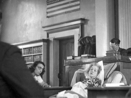 "On a hospital cot in Jefferson Circuit Court, Mayme McConnell testified in the Dupont poison trial of Lottie ""Tot"" Lockman in March 1947."