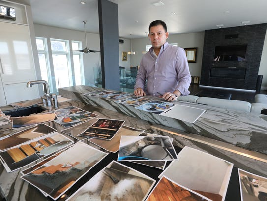 Homeowner Nicko Feinberg of Grand view-on-Hudson, displays