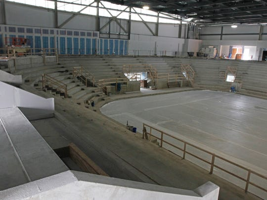 Two luxury boxes are seen at left, divided by the low walls, inside RIT's new hockey rink, the Gene Polisseni Center.