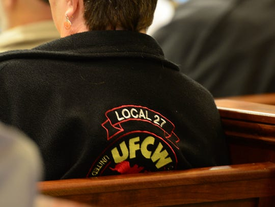 Members of the community came out to voice their opinions on Tuesday, Oct. 31, 2017, at the Sussex County Courthouse in Georgetown in response to a possible introduction of a proposed right-to-work ordinance.