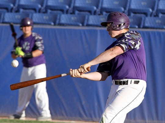 Deklyn Quail of the KC Storm gets a hit during a game against the Pumpjacks on Friday at Ricketts Park in Farmington.