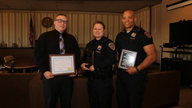 Richmond Police Department has honored three employees for their performances during 2017. The honorees are Billy Hampton (from left), Civilian of the Year; Lt. Aly Tonuc, Supervisor of the Year; and Officer Tim Davis, Officer of the Year.