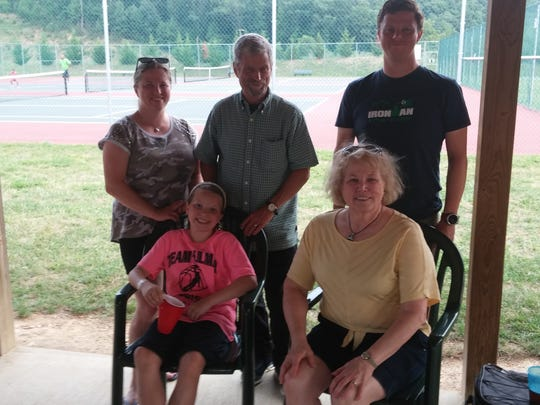 Steve and Sara Doherty with their two children and granddaughter last summer during a family reunion at Masanutten. Left to right: Clare Doherty Deyo, Steve Doherty, Michael Doherty, Sara Doherty and Amanda Deyo.